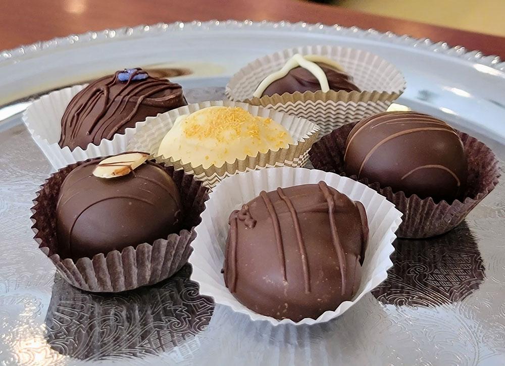 silver tray of chocolates